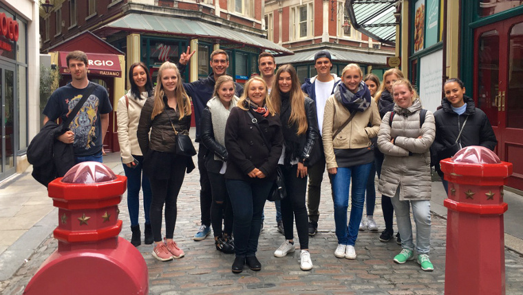 A group of students on our City of London Finance Tour in Leadenhall Market.