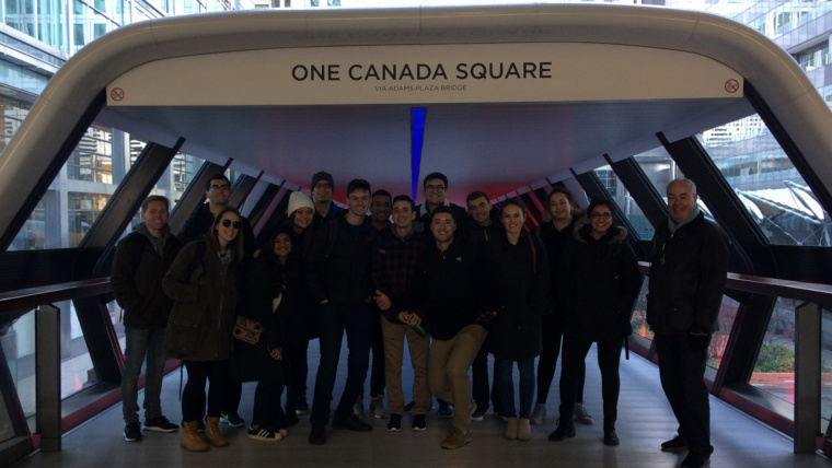 A short of one of our student groups in front of One Canada Square.
