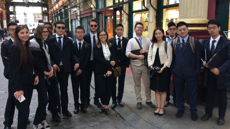 Canadian students from Toronto on our City of London Finance Tour in Leadenhall Market.