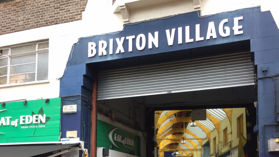 The entrance to the Brixton Village Market.