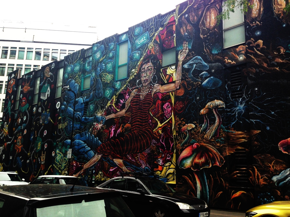 A wide angle shot of the mural including psychedelic mushrooms and futuristic robots.