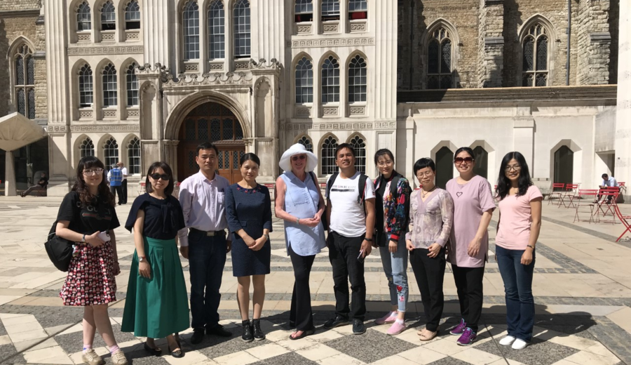 A group on our City of London Finance Tour in front of Guildhall.