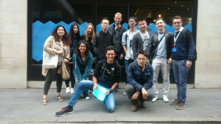 A group of researchers from King's College in front of our last stop, Google Campus.