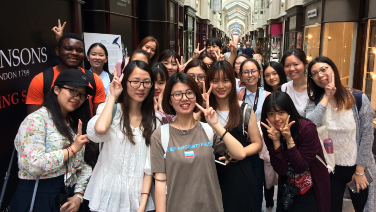 Students visiting from China on our West End Retail Design Tour - here in Burlington Arcade.
