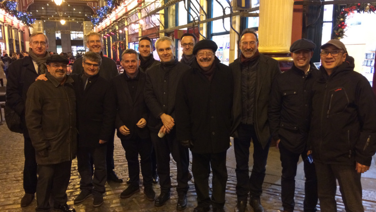 A group of professionals on our Modern Architecture Tour, in Leadenhall Market!