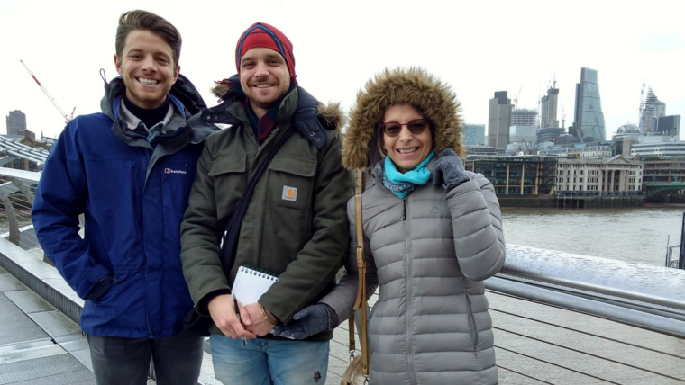 A picture of three lovely guests on a private Modern Architecture Tour, taken on Millenium Bridge.