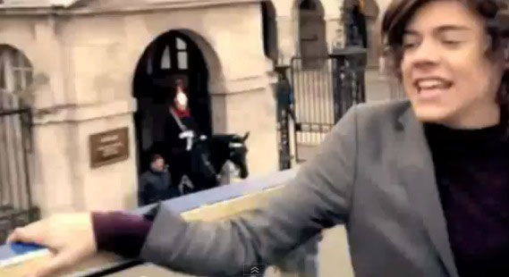 Harry Styles in front of Horseguards Parade, London, for 1D's 'One Thing' video