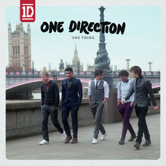 One Direction's 'One Thing' cover, shot in front of London's Lambeth Bridge