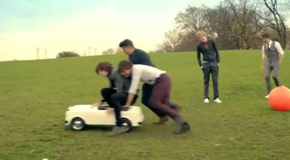 One Direction in London's Battersea Park for their 'One Thing' video
