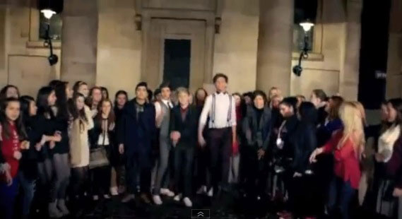 'One Thing' by One Direction finishing up at St Paul's Church, Covent Garden