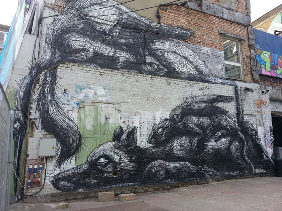 Roa street art at the Red Market, East London