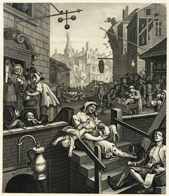 Gin Lane by Hogarth, depicting London's gin craze