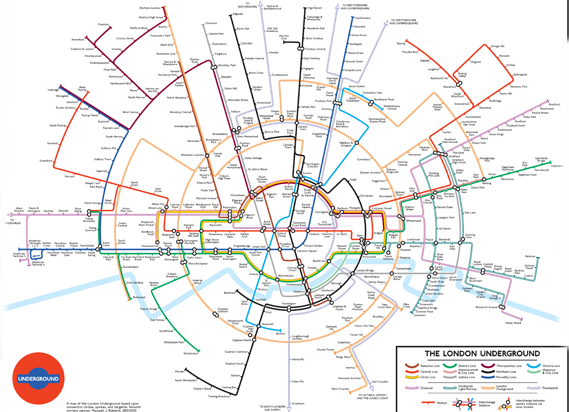 roberts created his underground map using circles after the final section opened for londons new inner suburban circular railway in 2012
