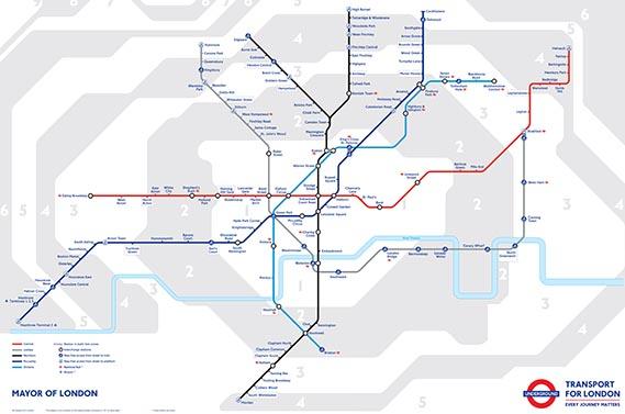 The London Underground Tube Night Map 2014