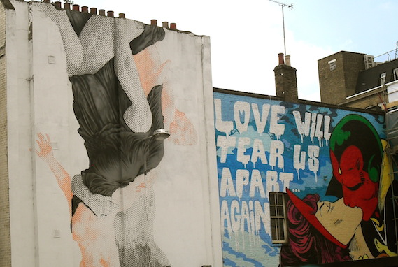 Love Will Tear Us Apart London street art cept