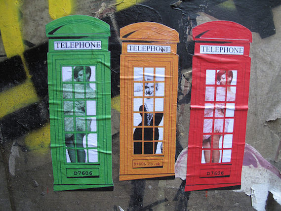 London phone box street art