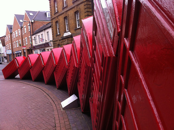 fallen red phone boxes London
