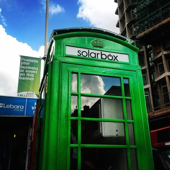 solar box green london phonebox