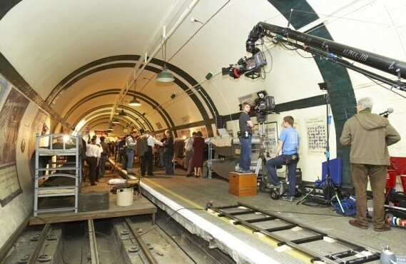 Filming at Aldwych Station - Photo courtesy of TfL